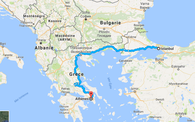 Capture Istanbul (Turquie) - Athéenes (Grèce) (1100 kms)
